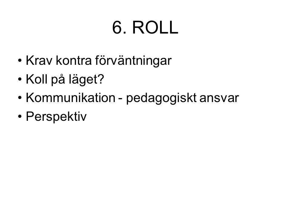 6. ROLL Krav kontra förväntningar Koll på läget? Kommunikation - pedagogiskt ansvar Perspektiv
