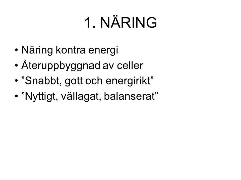 """1. NÄRING Näring kontra energi Återuppbyggnad av celler """"Snabbt, gott och energirikt"""" """"Nyttigt, vällagat, balanserat"""""""