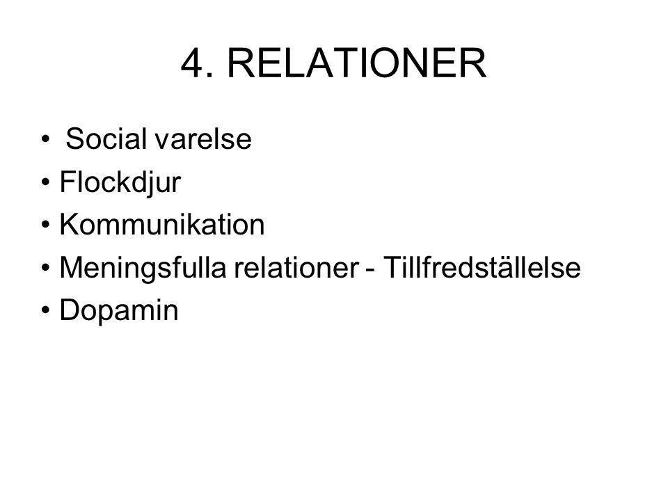 4. RELATIONER Social varelse Flockdjur Kommunikation Meningsfulla relationer - Tillfredställelse Dopamin