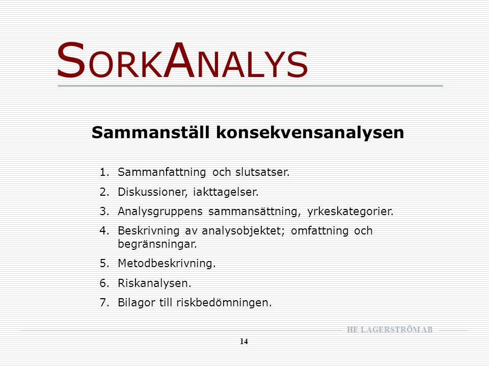 HE LAGERSTRÖM AB 14 S ORK A NALYS Sammanställ konsekvensanalysen 1.Sammanfattning och slutsatser.
