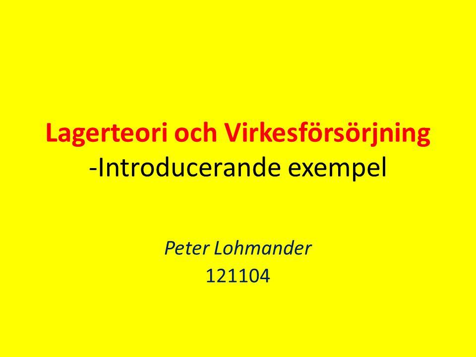 Lagerteori och Virkesförsörjning -Introducerande exempel Peter Lohmander 121104