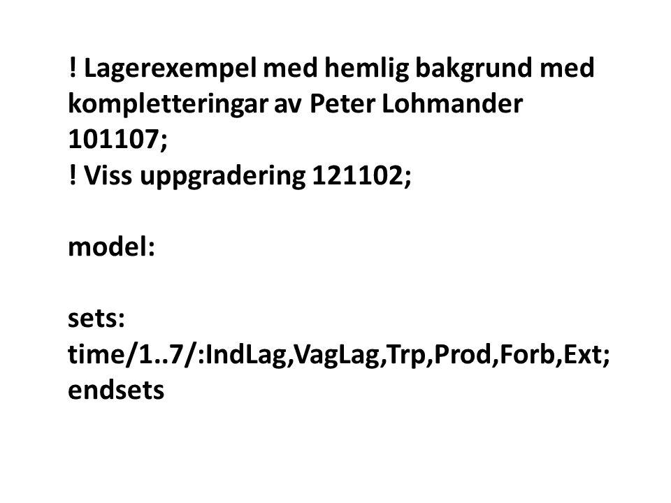 ! Lagerexempel med hemlig bakgrund med kompletteringar av Peter Lohmander 101107; ! Viss uppgradering 121102; model: sets: time/1..7/:IndLag,VagLag,Tr