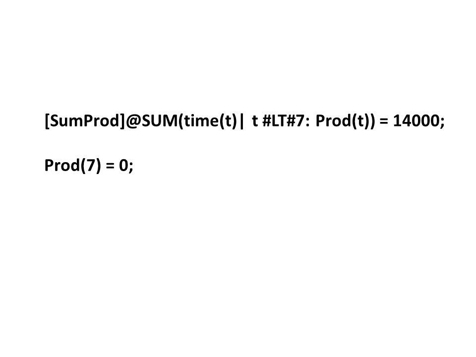 [SumProd]@SUM(time(t)| t #LT#7: Prod(t)) = 14000; Prod(7) = 0;