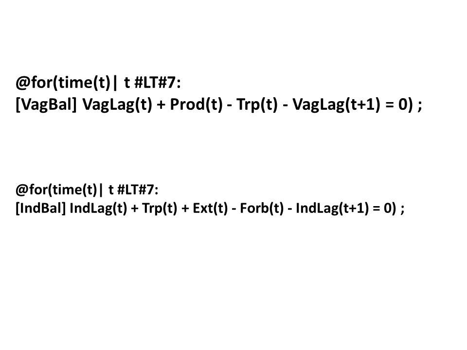 @for(time(t)| t #LT#7: [VagBal] VagLag(t) + Prod(t) - Trp(t) - VagLag(t+1) = 0) ; @for(time(t)| t #LT#7: [IndBal] IndLag(t) + Trp(t) + Ext(t) - Forb(t