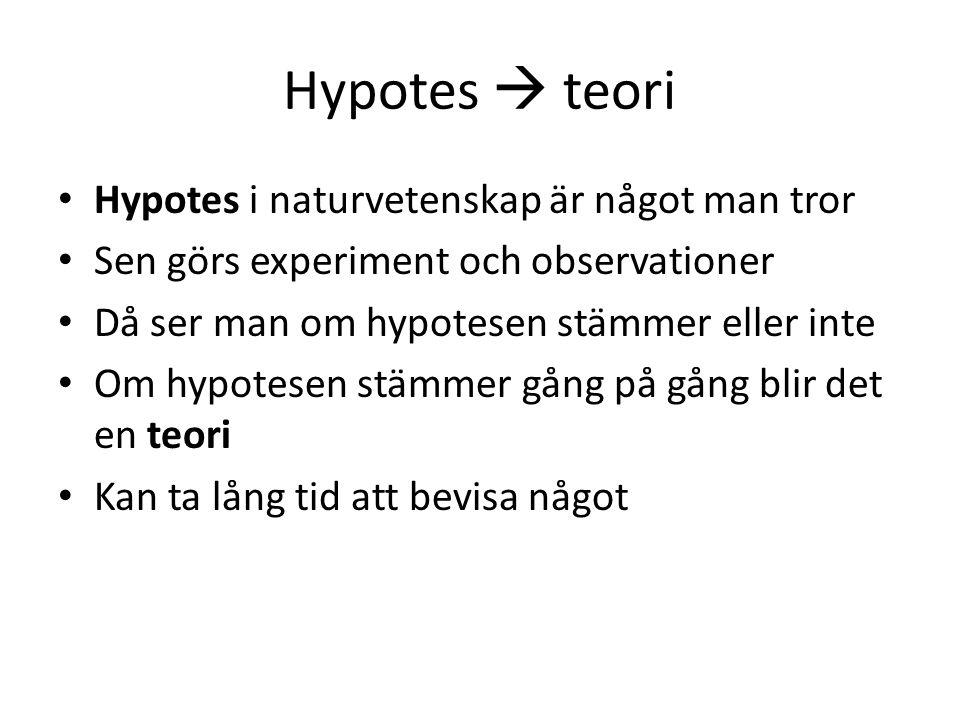 Hypotes  teori Hypotes i naturvetenskap är något man tror Sen görs experiment och observationer Då ser man om hypotesen stämmer eller inte Om hypotes