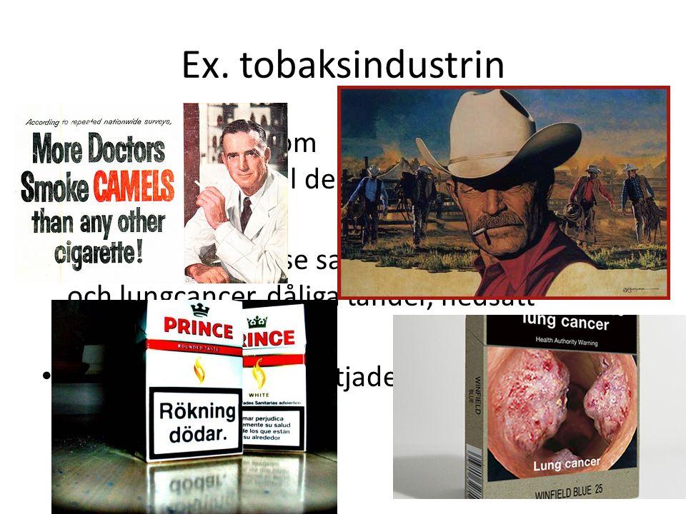 Ex. tobaksindustrin I tobakens barndom kände man inte till de negativa sidorna Forskare började se samband mellan tobak och lungcancer, dåliga tänder,