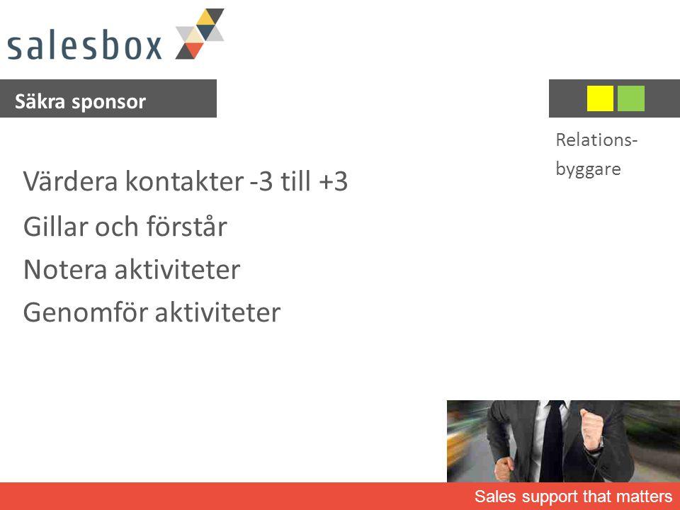 Sales support that matters Säkra sponsor Värdera kontakter -3 till +3 Gillar och förstår Notera aktiviteter Relations- byggare Genomför aktiviteter
