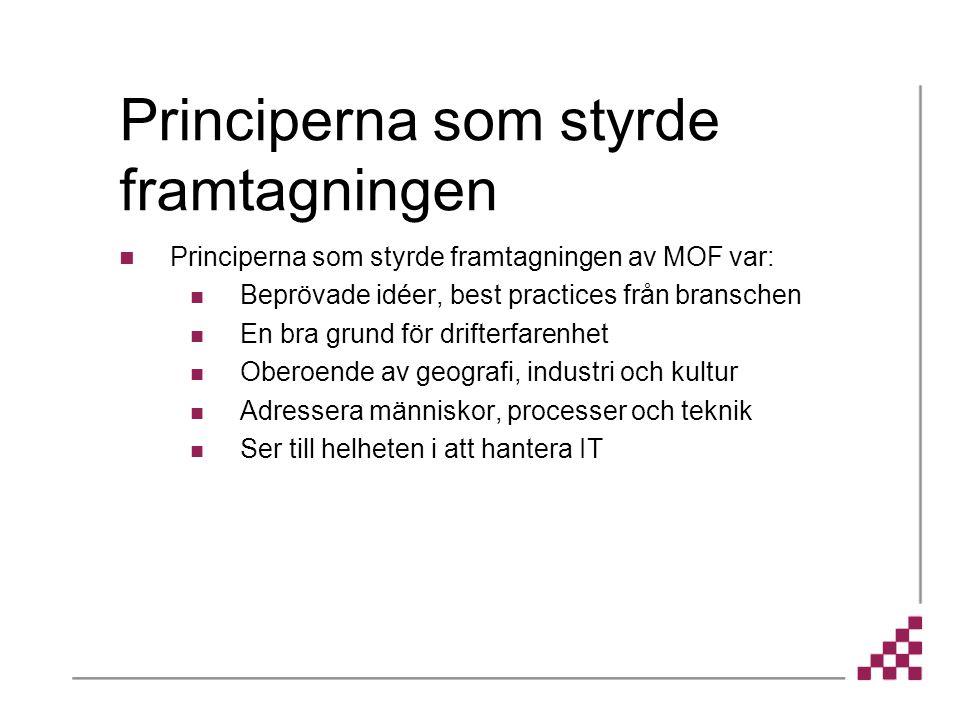Principerna som styrde framtagningen av MOF var: Beprövade idéer, best practices från branschen En bra grund för drifterfarenhet Oberoende av geografi, industri och kultur Adressera människor, processer och teknik Ser till helheten i att hantera IT Principerna som styrde framtagningen