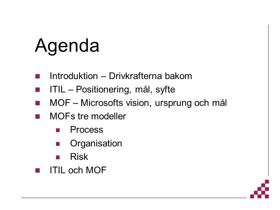Agenda Introduktion – Drivkrafterna bakom ITIL – Positionering, mål, syfte MOF – Microsofts vision, ursprung och mål MOFs tre modeller Process Organisation Risk ITIL och MOF