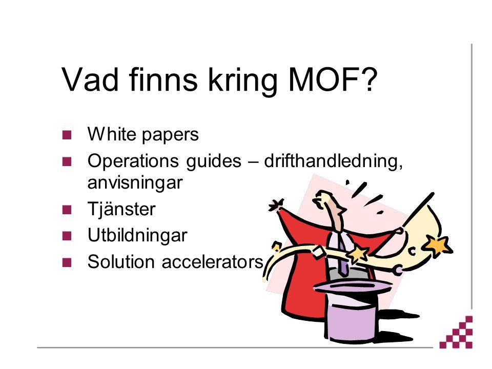 Vad finns kring MOF? White papers Operations guides – drifthandledning, anvisningar Tjänster Utbildningar Solution accelerators