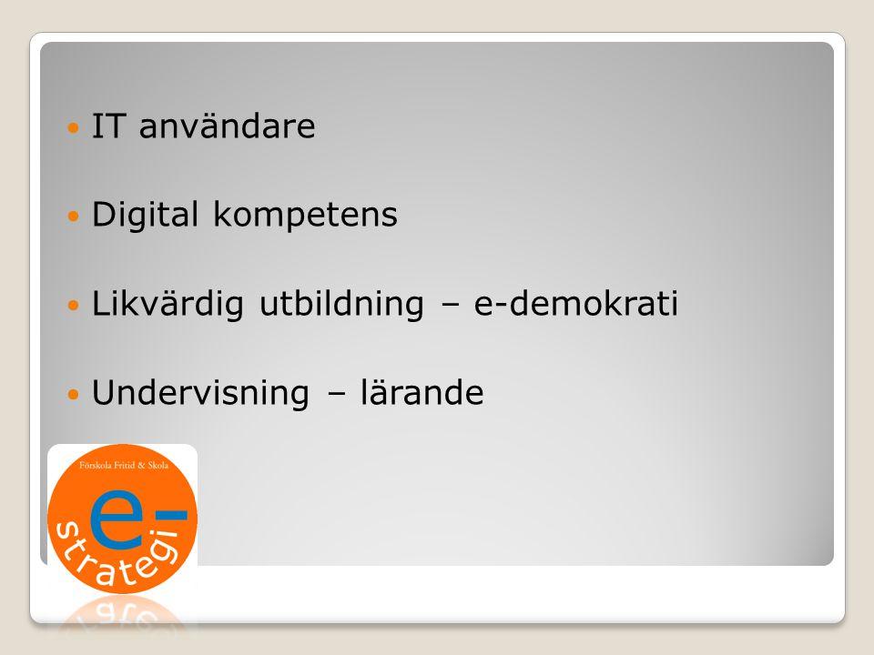 IT användare Digital kompetens Likvärdig utbildning – e-demokrati Undervisning – lärande