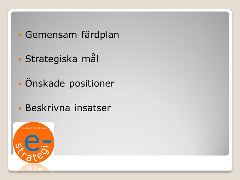 Gemensam färdplan Strategiska mål Önskade positioner Beskrivna insatser