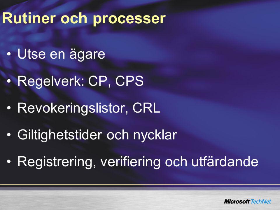 Utse en ägare Regelverk: CP, CPS Revokeringslistor, CRL Giltighetstider och nycklar Registrering, verifiering och utfärdande Rutiner och processer