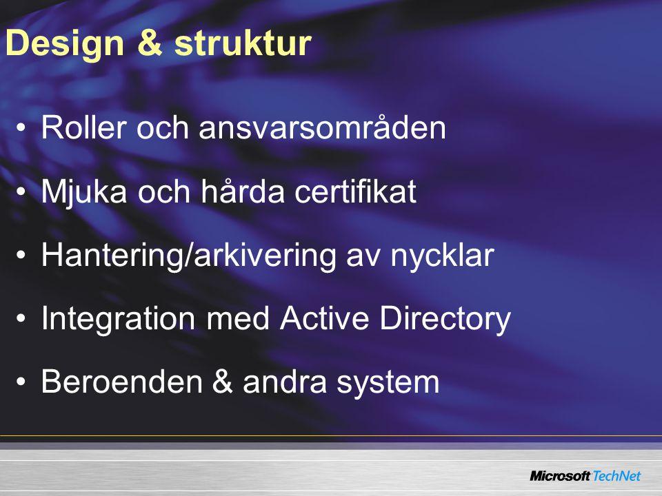 Roller och ansvarsområden Mjuka och hårda certifikat Hantering/arkivering av nycklar Integration med Active Directory Beroenden & andra system Design & struktur