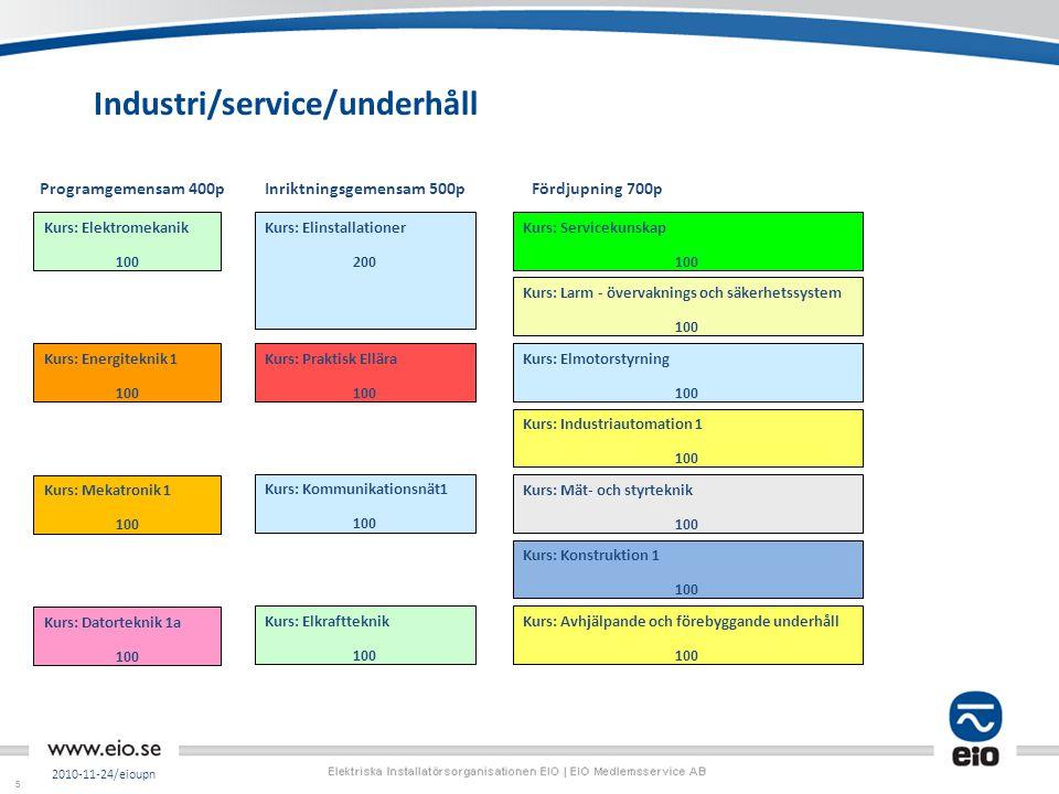 55 Industri/service/underhåll 2010-11-24/eioupn Kurs: Mät- och styrteknik 100 Kurs: Avhjälpande och förebyggande underhåll 100 Kurs: Industriautomatio