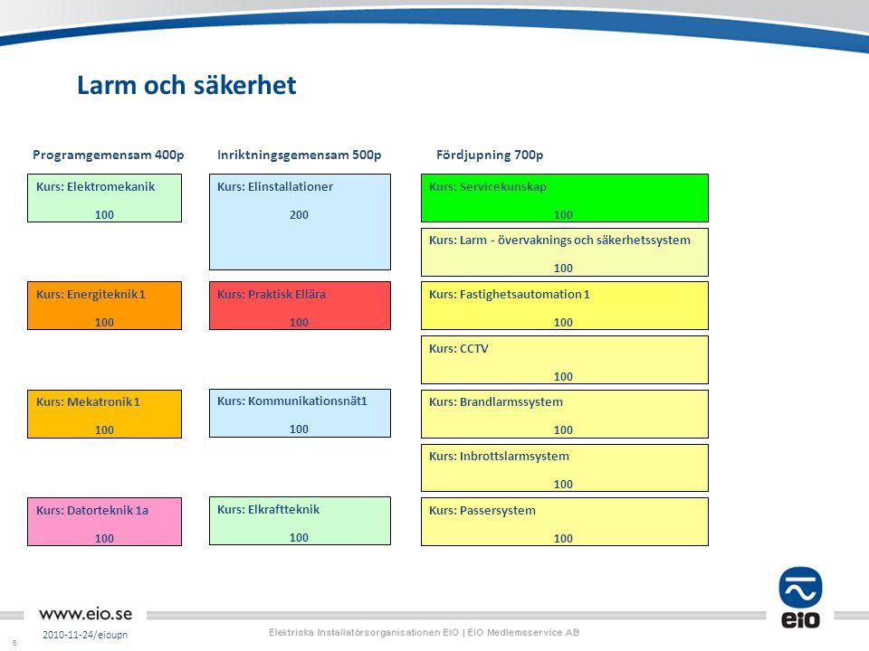 66 Larm och säkerhet 2010-11-24/eioupn Kurs: Passersystem 100 Kurs: Inbrottslarmsystem 100 Kurs: CCTV 100 Kurs: Brandlarmssystem 100 Kurs: Kommunikati