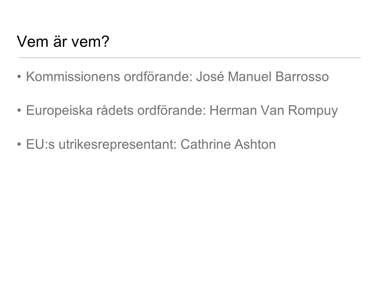 Vem är vem? Kommissionens ordförande: José Manuel Barrosso Europeiska rådets ordförande: Herman Van Rompuy EU:s utrikesrepresentant: Cathrine Ashton