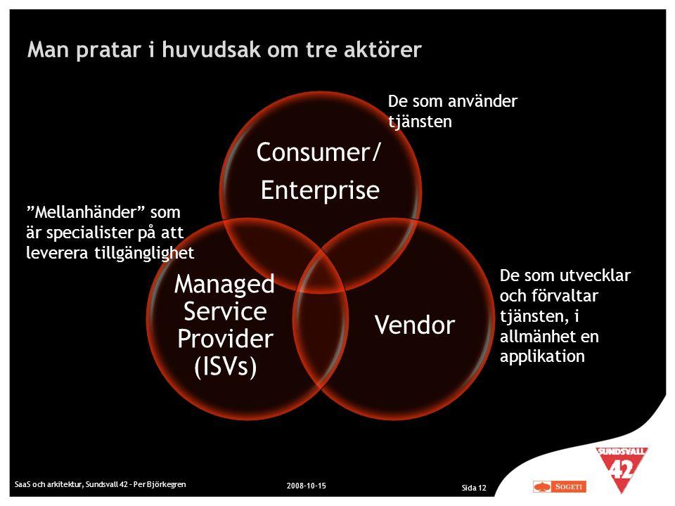 Man pratar i huvudsak om tre aktörer SaaS och arkitektur, Sundsvall 42 - Per Björkegren 2008-10-15 Sida 12 Consumer/ Enterprise Vendor Managed Service