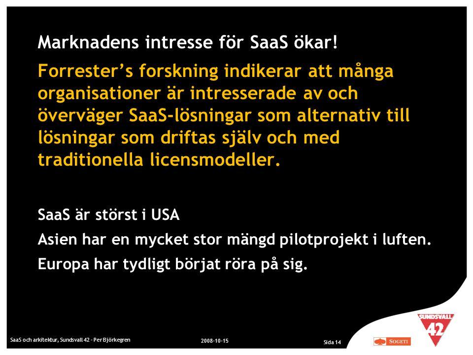 SaaS och arkitektur, Sundsvall 42 - Per Björkegren 2008-10-15 Sida 14 Marknadens intresse för SaaS ökar! Forrester's forskning indikerar att många org