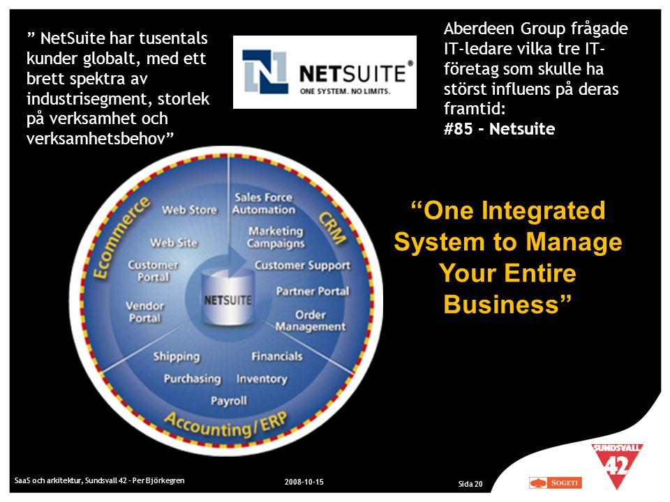 "SaaS och arkitektur, Sundsvall 42 - Per Björkegren 2008-10-15 Sida 20 "" NetSuite har tusentals kunder globalt, med ett brett spektra av industrisegmen"