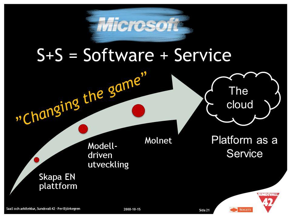 "SaaS och arkitektur, Sundsvall 42 - Per Björkegren 2008-10-15 Sida 21 The cloud S+S = Software + Service ""Changing the game"" Skapa EN plattform Modell"