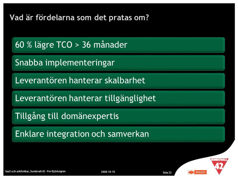Vad är fördelarna som det pratas om? SaaS och arkitektur, Sundsvall 42 - Per Björkegren 2008-10-15 Sida 32 60 % lägre TCO > 36 månaderSnabba implement