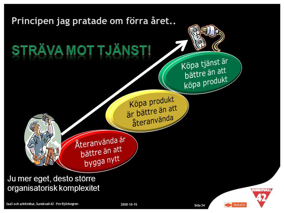 Principen jag pratade om förra året.. SaaS och arkitektur, Sundsvall 42 - Per Björkegren 2008-10-15 Sida 34 Ju mer eget, desto större organisatorisk k
