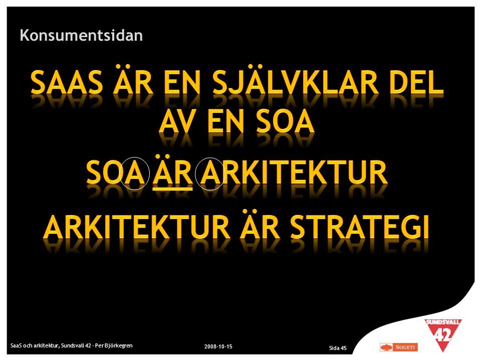 Konsumentsidan SaaS och arkitektur, Sundsvall 42 - Per Björkegren 2008-10-15 Sida 45