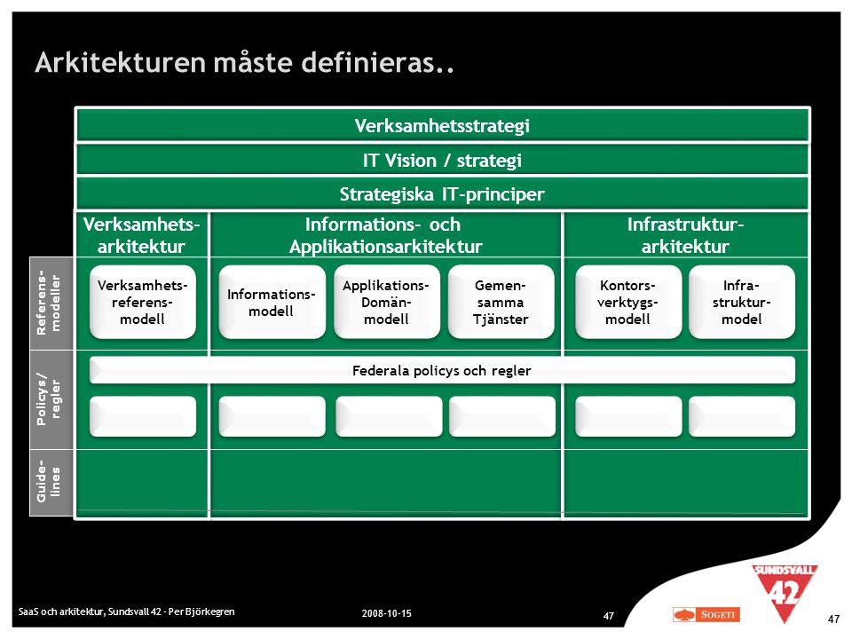 Arkitekturen måste definieras.. SaaS och arkitektur, Sundsvall 42 - Per Björkegren 2008-10-15 47 Referens- modeller Policys/ regler Guide- lines Infor