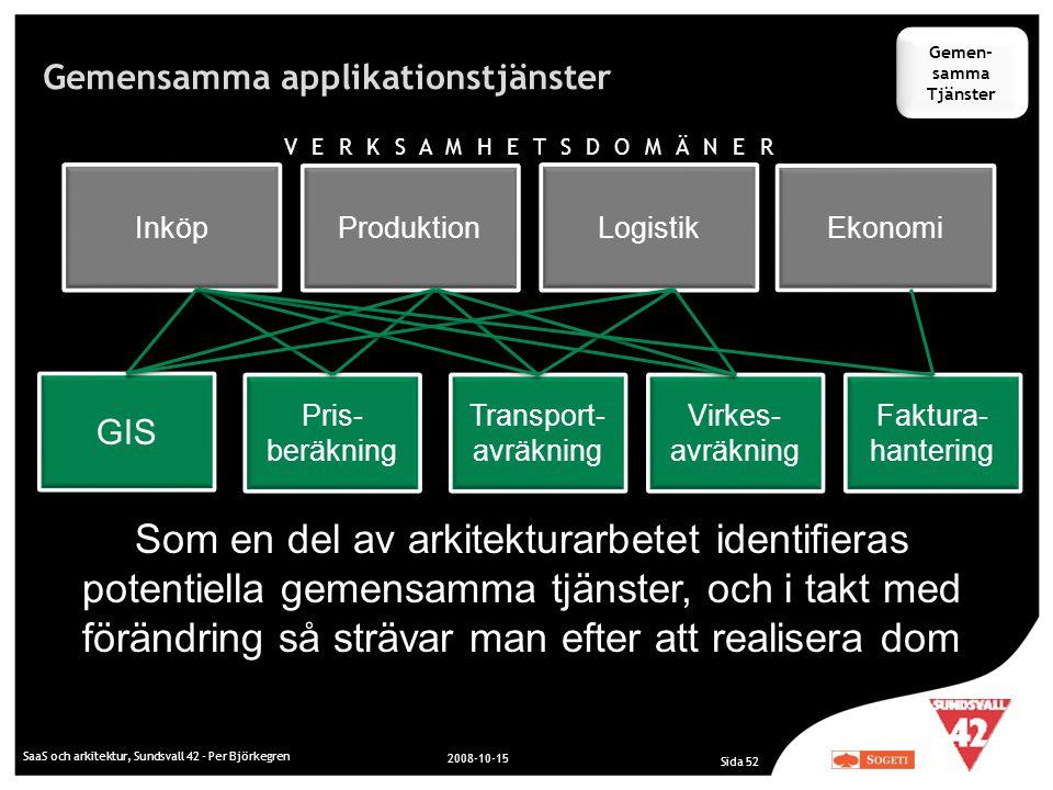 Gemensamma applikationstjänster SaaS och arkitektur, Sundsvall 42 - Per Björkegren 2008-10-15 Sida 52 Som en del av arkitekturarbetet identifieras pot