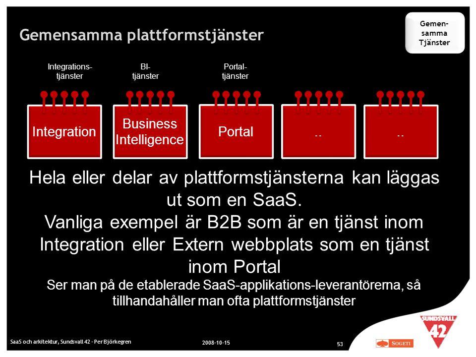 Gemensamma plattformstjänster SaaS och arkitektur, Sundsvall 42 - Per Björkegren 2008-10-15 53 Integration Business Intelligence Portal.. Integrations