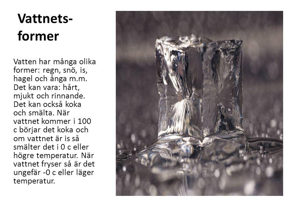 Vattnets- former Vatten har många olika former: regn, snö, is, hagel och ånga m.m.