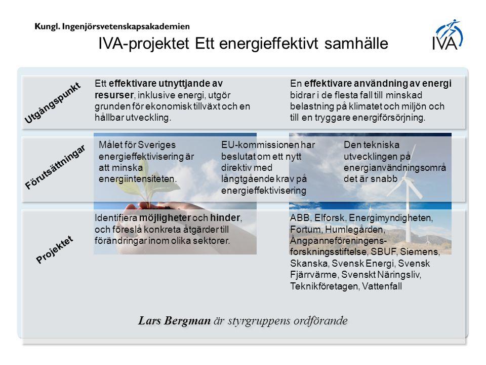 IVA-projektet Ett energieffektivt samhälle Ett effektivare utnyttjande av resurser, inklusive energi, utgör grunden för ekonomisk tillväxt och en håll