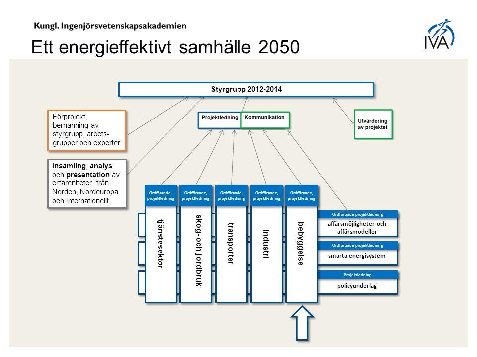 Ordförande projektledning Ett energieffektivt samhälle 2050 Styrgrupp 2012-2014 Förprojekt, bemanning av styrgrupp, arbets- grupper och experter Insam