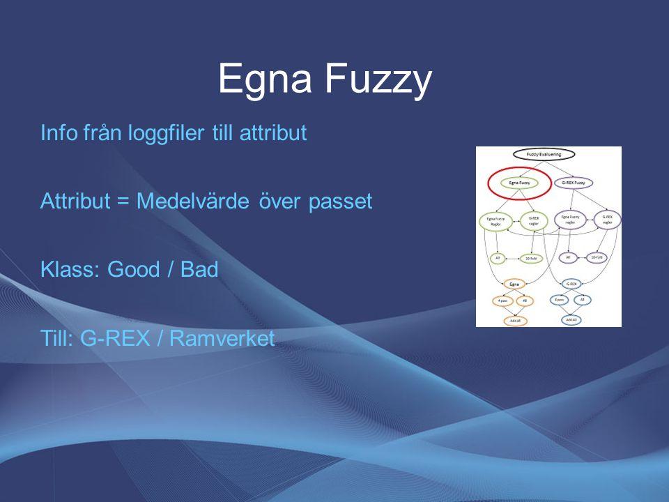 Egna Fuzzy Info från loggfiler till attribut Attribut = Medelvärde över passet Klass: Good / Bad Till: G-REX / Ramverket