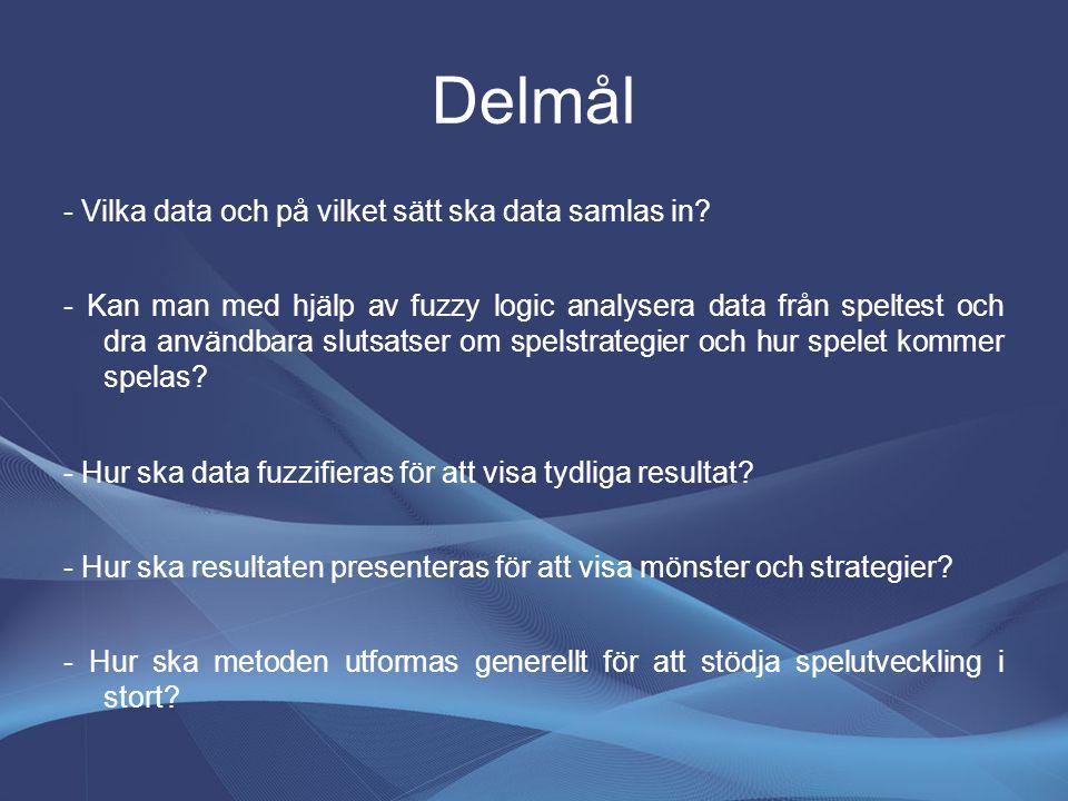 Delmål - Vilka data och på vilket sätt ska data samlas in? - Kan man med hjälp av fuzzy logic analysera data från speltest och dra användbara slutsats