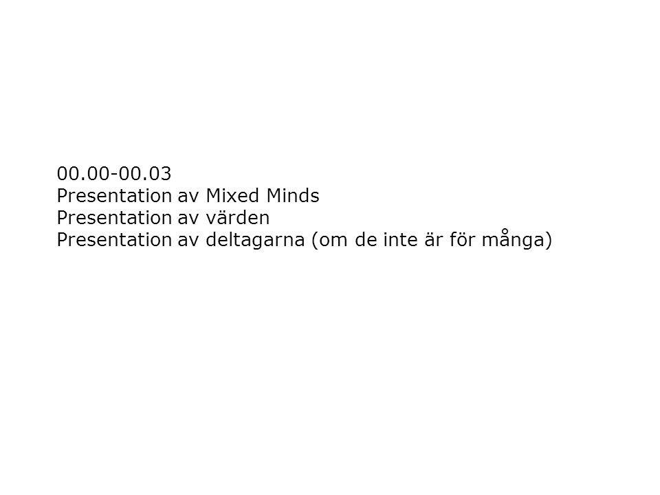 00.00-00.03 Presentation av Mixed Minds Presentation av värden Presentation av deltagarna (om de inte är för många)