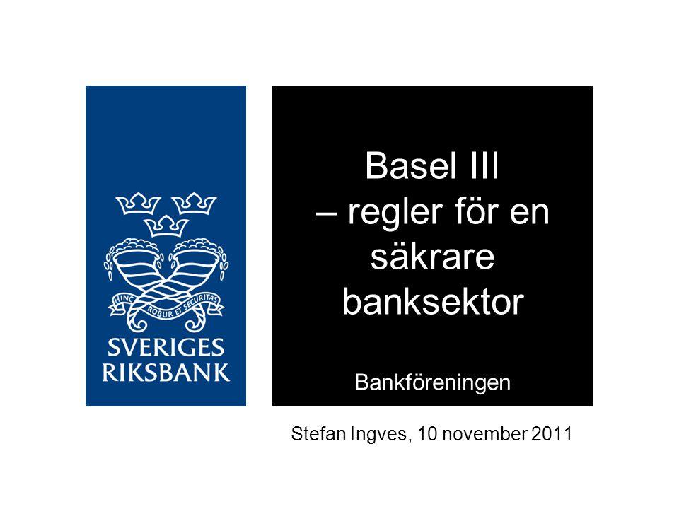 Svagare likviditetsposition än andra i Europa Stabil finansiering som andel till illikvida tillgångar, december 2010 Källor: Liquidatum och Riksbanken Överlevnadsperiod i Riksbankens stressade scenario, månader, december 2010 0% 10% 20% 30% 40% 50% 60% 70% 80% 90% 100% SEBHandels- banken NordeaSwedbankMedel europeiska banker 0,0 0,5 1,0 1,5 2,0 2,5 SwedbankNordea Handels- banken SEBMedel europeiska banker