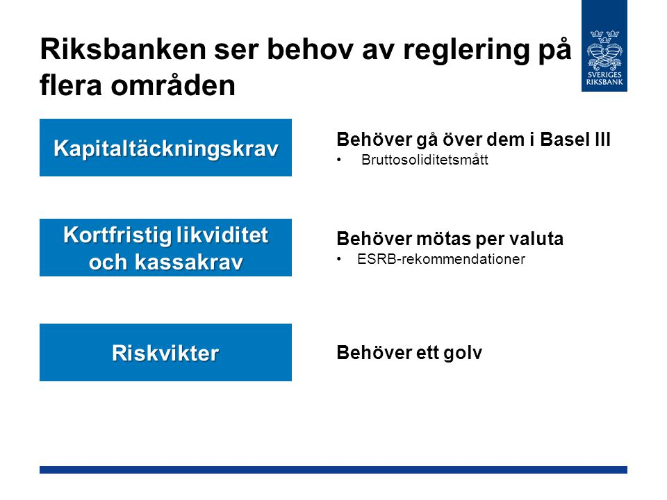 Riksbanken ser behov av reglering på flera områden Kapitaltäckningskrav Kortfristig likviditet och kassakrav Behöver gå över dem i Basel III Bruttosol