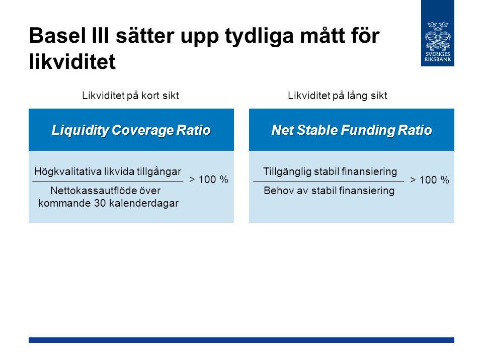 Basel III sätter upp tydliga mått för likviditet Likviditet på kort siktLikviditet på lång sikt Liquidity Coverage Ratio Högkvalitativa likvida tillgå