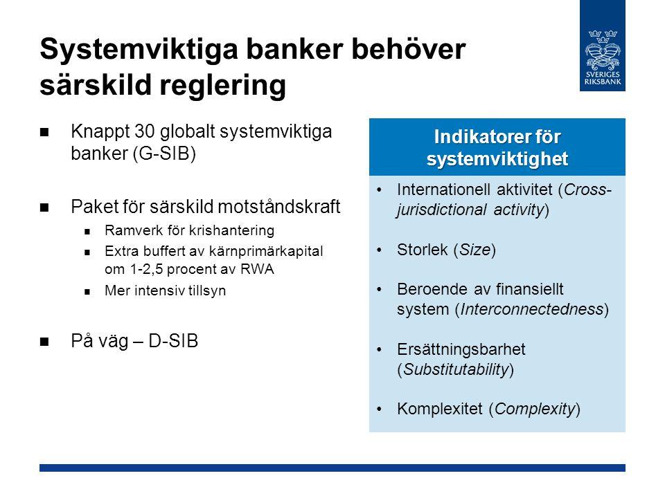 Riksbanken ser behov av reglering på flera områden Kapitaltäckningskrav Kortfristig likviditet och kassakrav Behöver gå över dem i Basel III Bruttosoliditetsmått Behöver ett golv Behöver mötas per valuta ESRB-rekommendationer Riskvikter