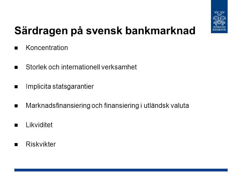 Särdragen på svensk bankmarknad Koncentration Storlek och internationell verksamhet Implicita statsgarantier Marknadsfinansiering och finansiering i u