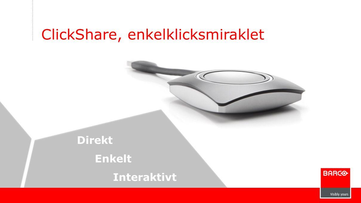ClickShare, enkelklicksmiraklet Direkt Enkelt Interaktivt