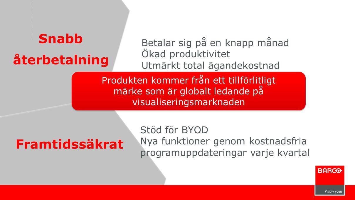 Framtidssäkrat Snabb återbetalning Betalar sig på en knapp månad Ökad produktivitet Utmärkt total ägandekostnad Stöd för BYOD Nya funktioner genom kos