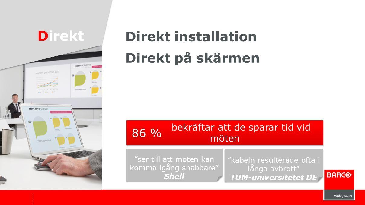 """Direkt installation Direkt på skärmen Direkt """"ser till att möten kan komma igång snabbare"""" Shell """"ser till att möten kan komma igång snabbare"""" Shell """""""