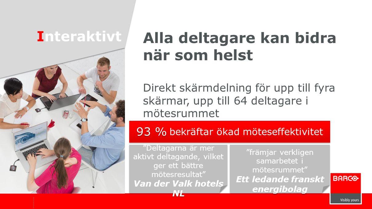 """Alla deltagare kan bidra när som helst Direkt skärmdelning för upp till fyra skärmar, upp till 64 deltagare i mötesrummet Interaktivt """"Deltagarna är m"""