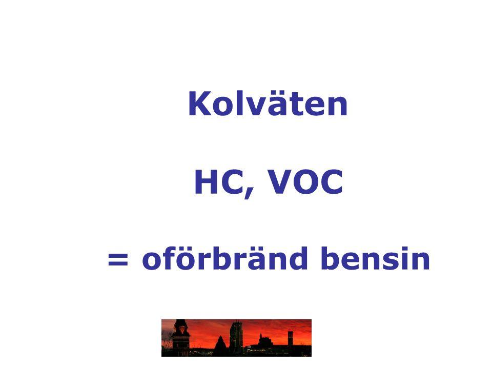 Kolväten HC, VOC = oförbränd bensin