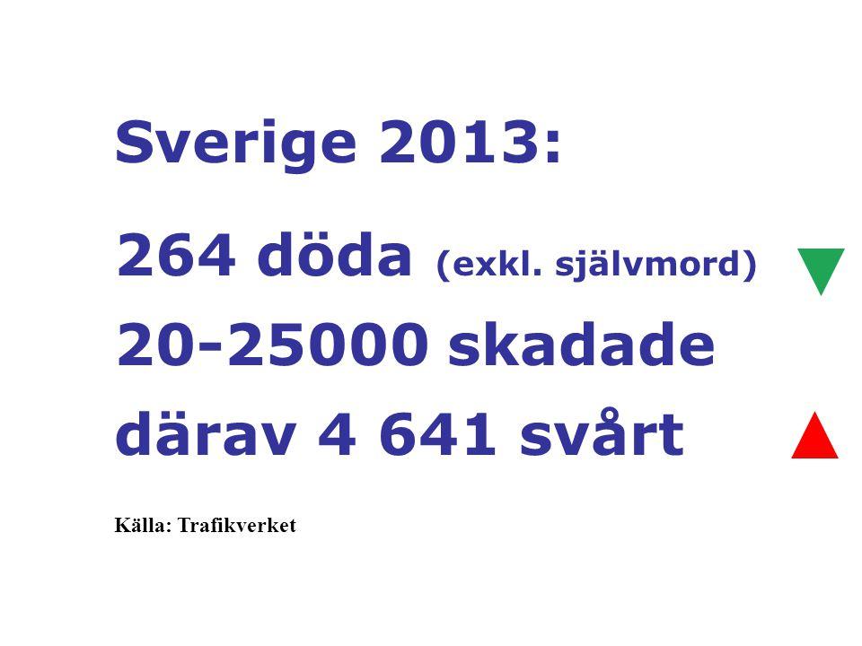 Sverige 2013: 264 döda (exkl. självmord) 20-25000 skadade därav 4 641 svårt Källa: Trafikverket