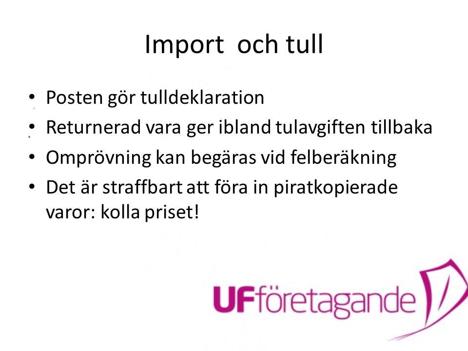 Import och tull Posten gör tulldeklaration Returnerad vara ger ibland tulavgiften tillbaka Omprövning kan begäras vid felberäkning Det är straffbart a