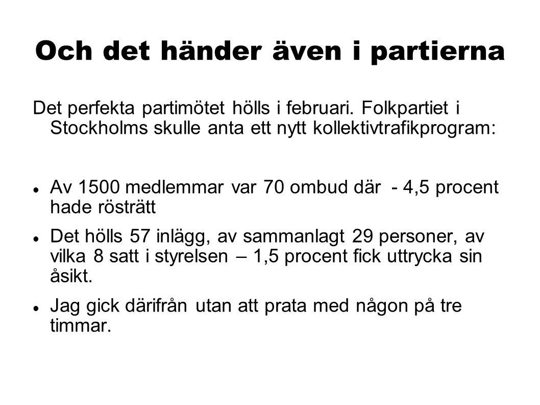 Och det händer även i partierna Det perfekta partimötet hölls i februari. Folkpartiet i Stockholms skulle anta ett nytt kollektivtrafikprogram: Av 150